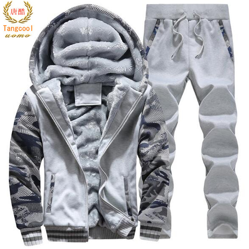 2018 Autumn Winter Camouflage Mens Suits swear Men's 2 Piece Set Thick Hoodies Long Pants