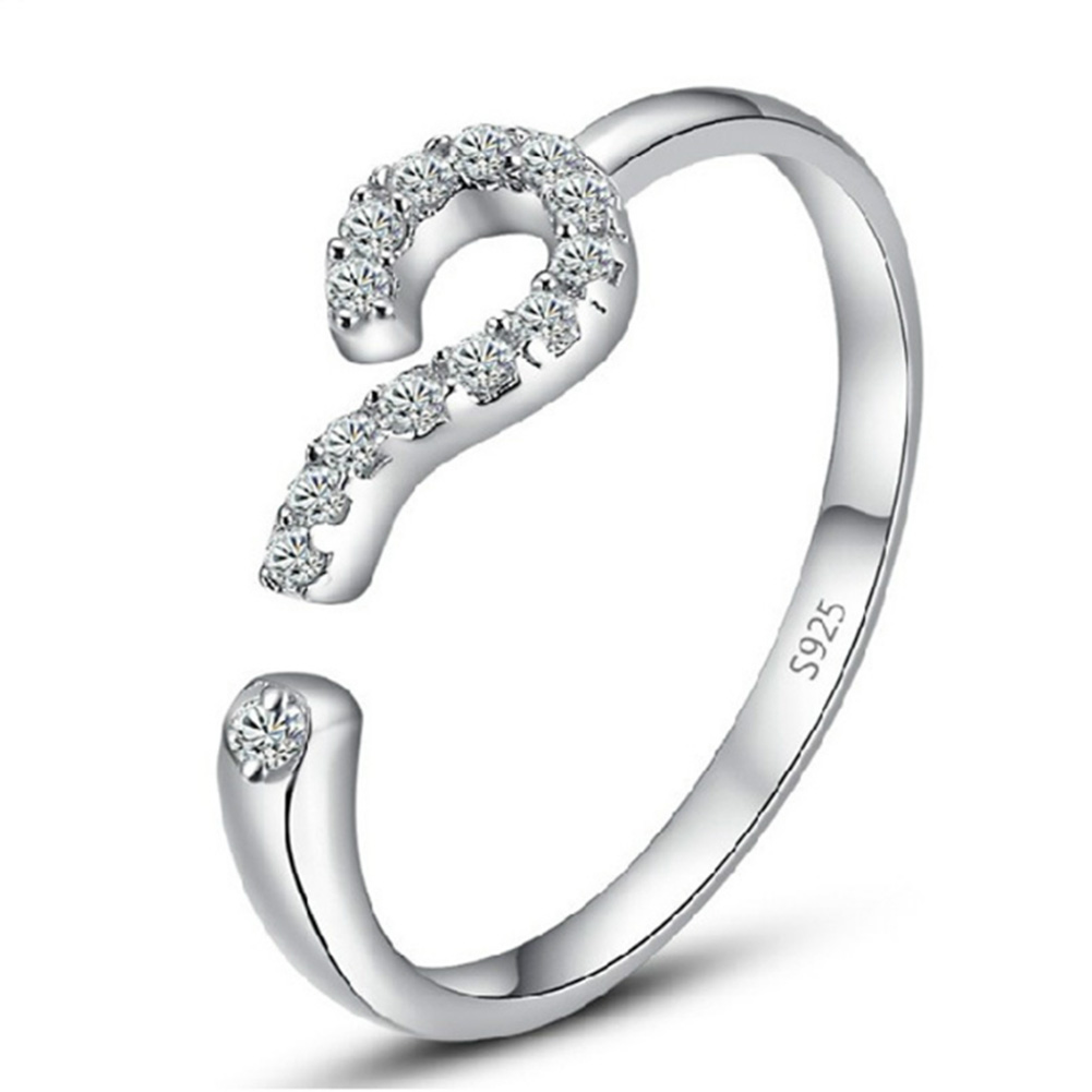 Fashion Silver color Ring Opening Question Mark Confession Of Love Luxury Ring Design Women Jewelry Wholesale