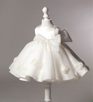 Top Quality 3D Flower Girl Wedding Dress Solid Princess Baby Girls Party Dresses With Big Bow