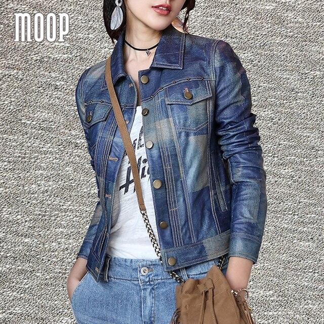 Джинсовый синий натуральная кожа пальто овчины мотоцикл куртки весте cuir настоящие pour femme chaquetas cuero de mujer LT1010