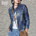 Denim blue genuine leather coat sheepskin motorcycle jacket veste cuir veritable pour femme chaquetas de cuero mujer LT1010