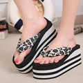 Plus Size Summer Beach Sandals Thick Heels Flip Flops Wedges Sandals for Women Leopard High Heels Sandals X917 35