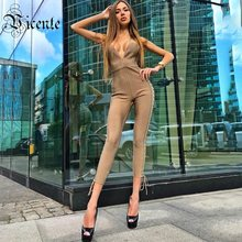 Clearance! VC 2019 Hot Trendy Sexy Lace-up Deep V Neck Sleeveless Celebrity Party Bnadage Jumpsuit(China)