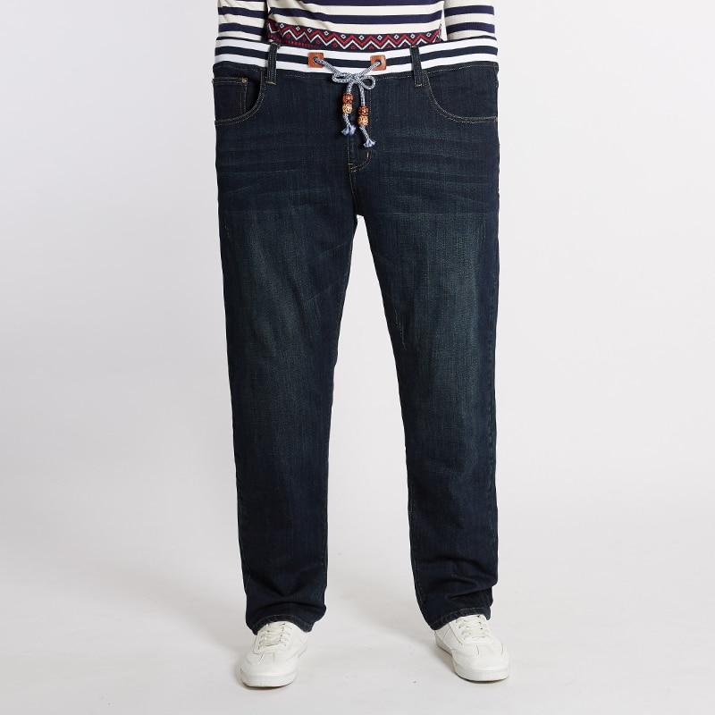 2018 Groß Und Hoch Männer Jeans Krawatte Hohe Taille Casual Jeansplus Größe 44,46, 48 Herren Hip Hop Elastische Männer Jeans