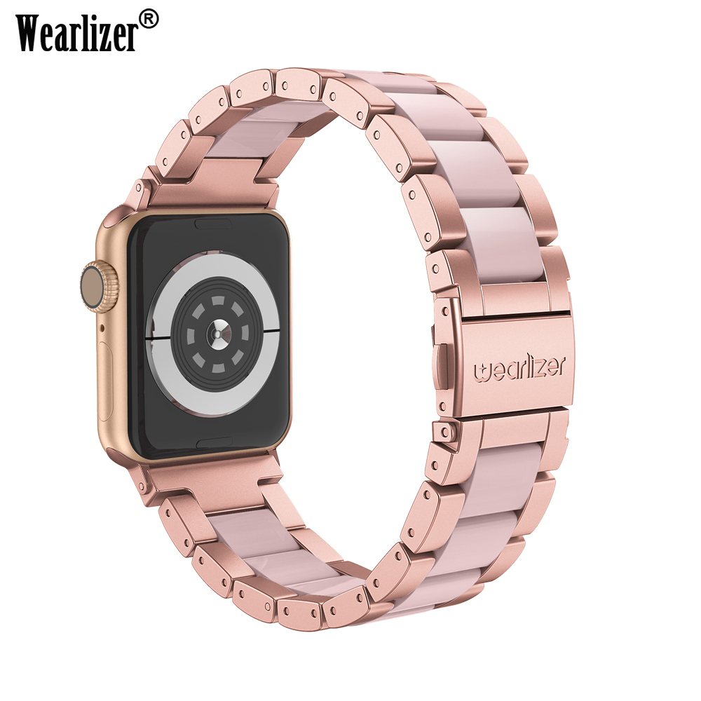 Wearlizer Apple Watch Band 38mm 40mm 42mm 44mm IWatch Metal Replacement Stainless Steel Strap For Apple Watch Series 5 4 3 2 1