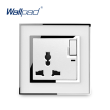 3 Pin Multifunction Socket With Switch LED Indicator Wallpad Luxury Wall Electric Power Outlet Mirror Acrylic Panel Tomada