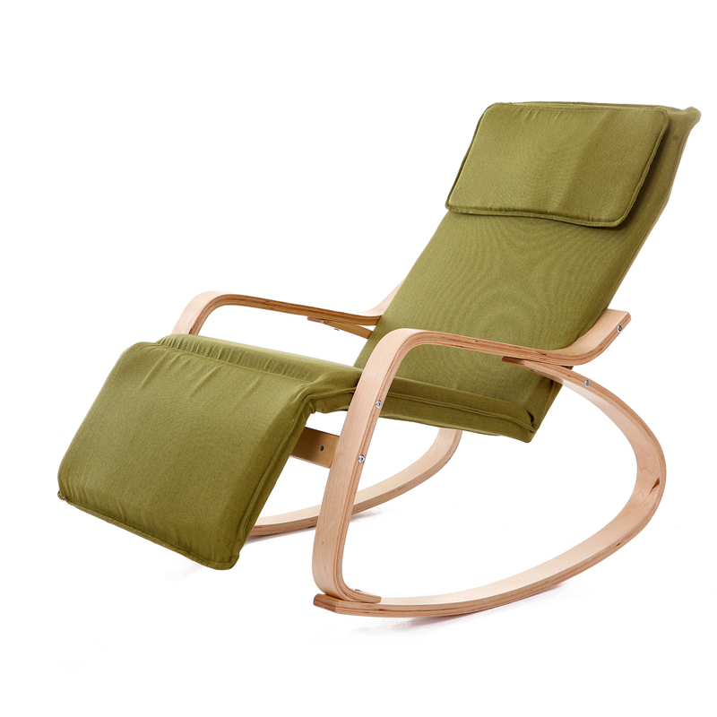 Exceptional Modern Rocking Chair Fabric Cushion Natural Finish Adjustable Footrest  Garden Furniture Comfortable Relax Lounge Chair Recliners Photo Gallery