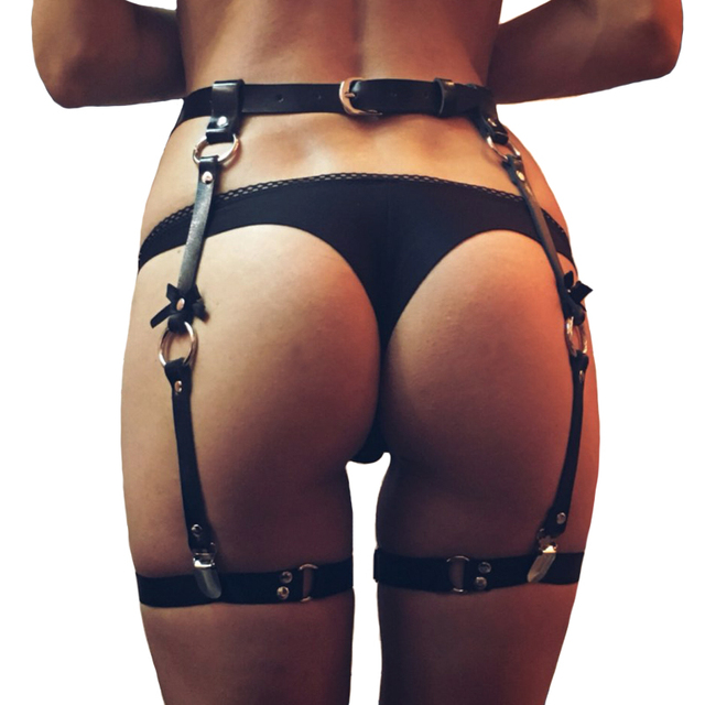 cff9c2a691f Fashion sexy women men leather Waist Garter belt for Stockings 4 suspenders  Bow Handmade Punk Costume Outfit O-Round Waist Belts