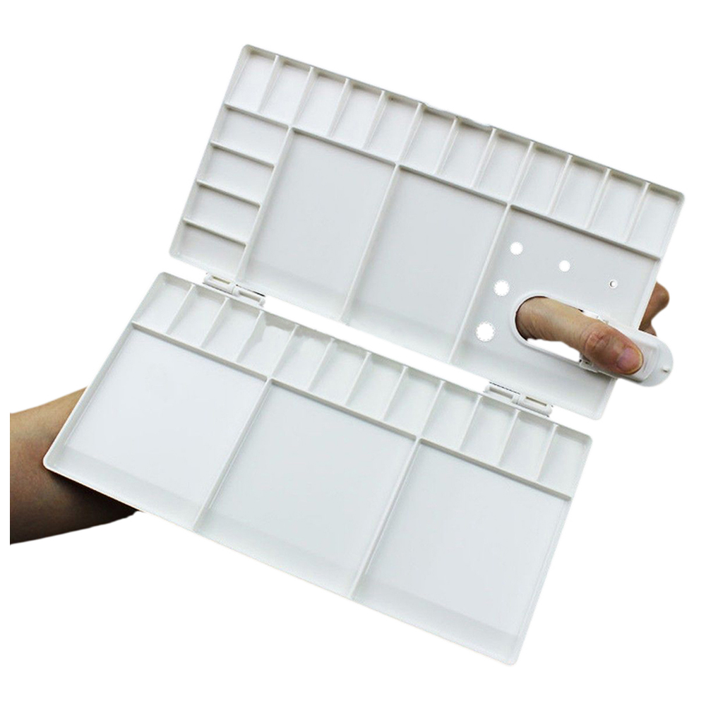 Art Paint Tray Artist Oil Watercolor Plastic Palette White 33 Grids Large Size professional 10 well round artist watercolor paint mixing palette tray white color