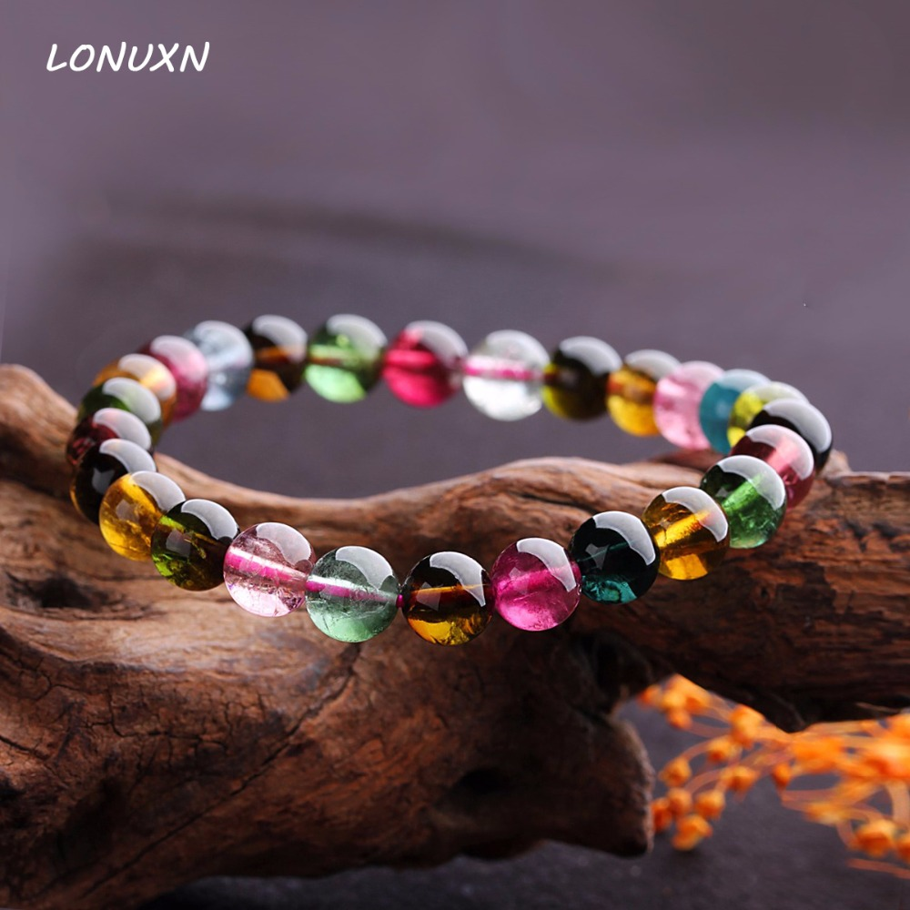 6mm female genuine Fashion colorful candy color tourmaline bracelet natural tourmaline pure luxurious bracelet for woman lanzyo natural tourmaline bracelets fine jewellery fashion hand string 4mm candy bracelet wholesale sc002