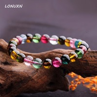 6mm female genuine Fashion colorful candy color tourmaline bracelet natural tourmaline pure luxurious bracelet for woman