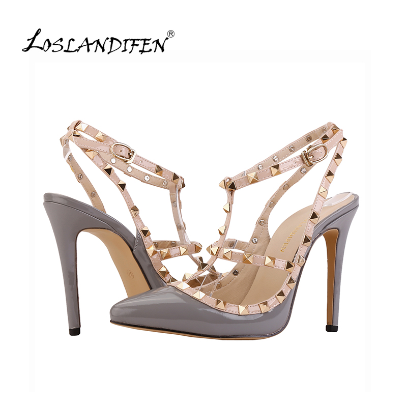 LOSLANDIFEN Leopard Fashion Rivets Shoes High-heeled Pointed Toe Hasp Thin Heel Sandals Rivet Pointed Shoe Female Sandal 302-5PA 8cm 2015 spring and autumn single shoes cutout hasp pointed toe high heels ol thin female fashion sandals
