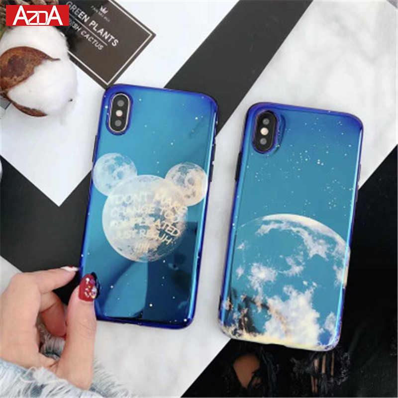 Ultrathin Originality Durable Silicone Electroplate Blue Light Soft Phone Cover Moon Planet Space Case for iPhone 6 6S 7 8 Plus