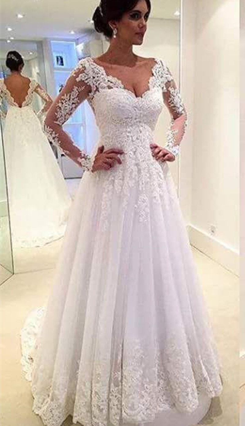 Custom Made A Line Long Sleeve Lace Wedding Dresses 2017 ...