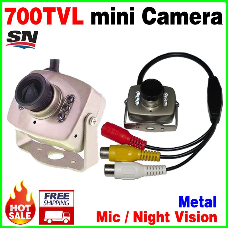 Very mini! 6Led Night Vision HD cmos 700TVL small CCTV Camera AV Audio MIC Metal monitoring products Surveillance micro vidicon 2015 newest cheapest freeshipping 6 array leds cctv camera cmos 700tvl plastic bullet hd mini monitoring security camera