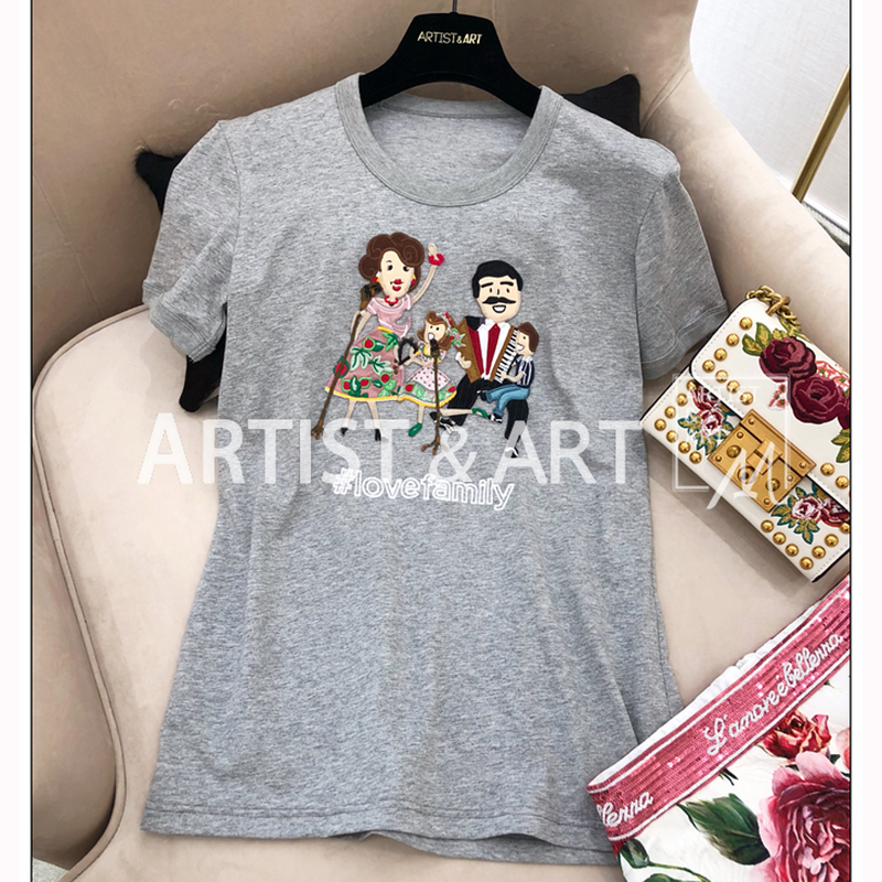 Svoryxiu 2019 Runway Summer Love Family Tops Tees Women's High Quality Embroidery Appliques Gray Short Sleeve T Shirts