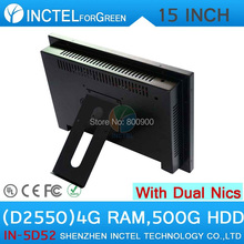 All in one desktop pc with 5 wire Gtouch 15 inch LED touch 4G RAM 500G HDD Dual 1000Mbps Nics