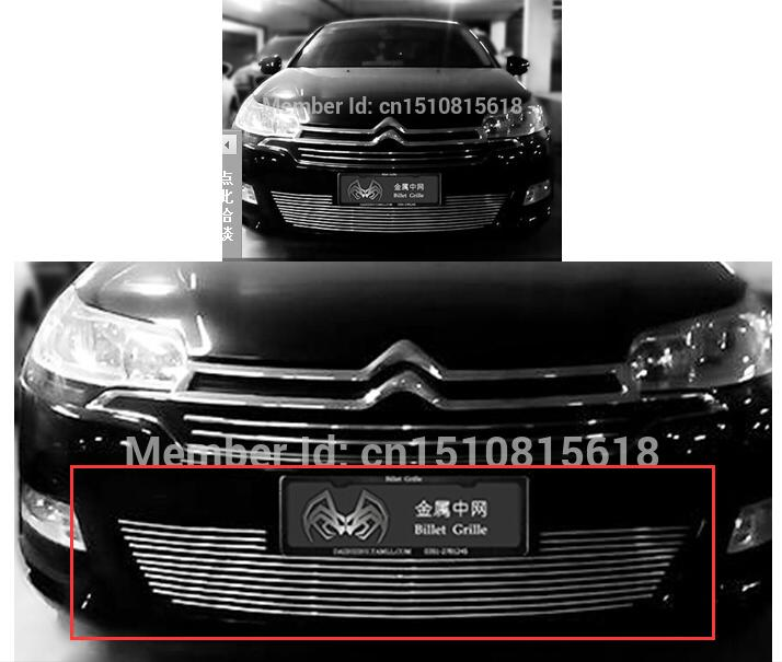 Quality Stainless steel Car front bumper Mesh Grille Around Trim Racing Grills 2013- 2016 for Citroen C5 abs chrome front grille around trim racing grills trim for 2013 hyundai santa fe ix45