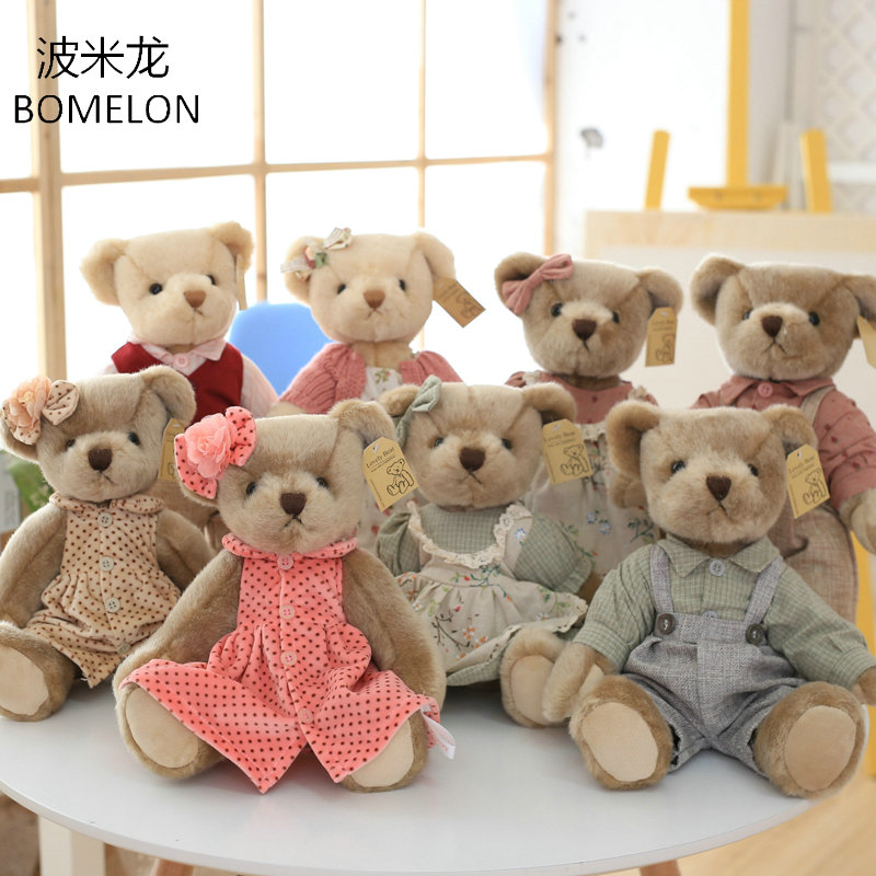 33CM Cute Teddy Bear Plush Doll Jointed Bears in Clothes Stuffed Plush Toys Animals Doll Girlfriend Valentines Christmas Gift cartoon plush teddy bear toys jumbo stuffed dolls birthday to bears valentines for baby