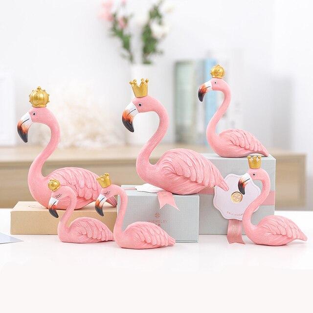 2 Pieces Pink Flamingo Decor Ornaments Home Europe Flamingos Style Decoration Accessories ElimElim