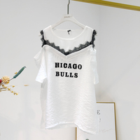 2019 Rushed Lace Korean Unicorn Sleeved T Shirt With Ins Super Fire Chic Pin Bead Lacquer Top With Loose Mesh Off Shoulder Body