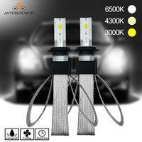 2018 Newest 2pcs H7 LED 4300K H4 H1 H11 9005 H1 H8 H9 3 Colors 3000K 6500K CSP Car Headlight Copper Braiding Lights 12V DJ