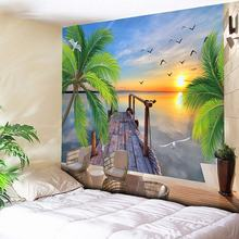 Psychedelic Sea Tapestry Wall Hanging Coconut Tree Sunlight Decorative Wall Carpets Large Wall Tapestry Cheap Hippie Art Blanket