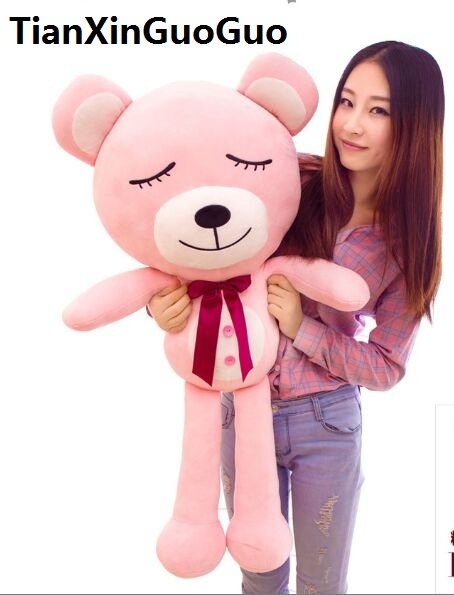 Фотография fillings toy large 120cm lovely teddy bear plush toy good night bear with bowtie soft doll hugging pillow birthday gift w2529