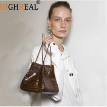 HIGHREAL Unique Crocodile Pattern retro Design Style Handbags 2019 New Catwalk Models Fashion Shoulder Bag Handbag