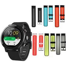 Dla Xiaomi Huami Amazfit Stratos 2 2S 3 pasek zegarka dla amazfit pace pasek silikonowy watchband 22mm opaska dwukolorowa oddychająca tanie tanio Hangrui Angielski Dla dorosłych Wszystko kompatybilny Other retail dropshipping wholesale silicone Strap for Xiaomi HuaMi Amazfit Stratos 2 2S