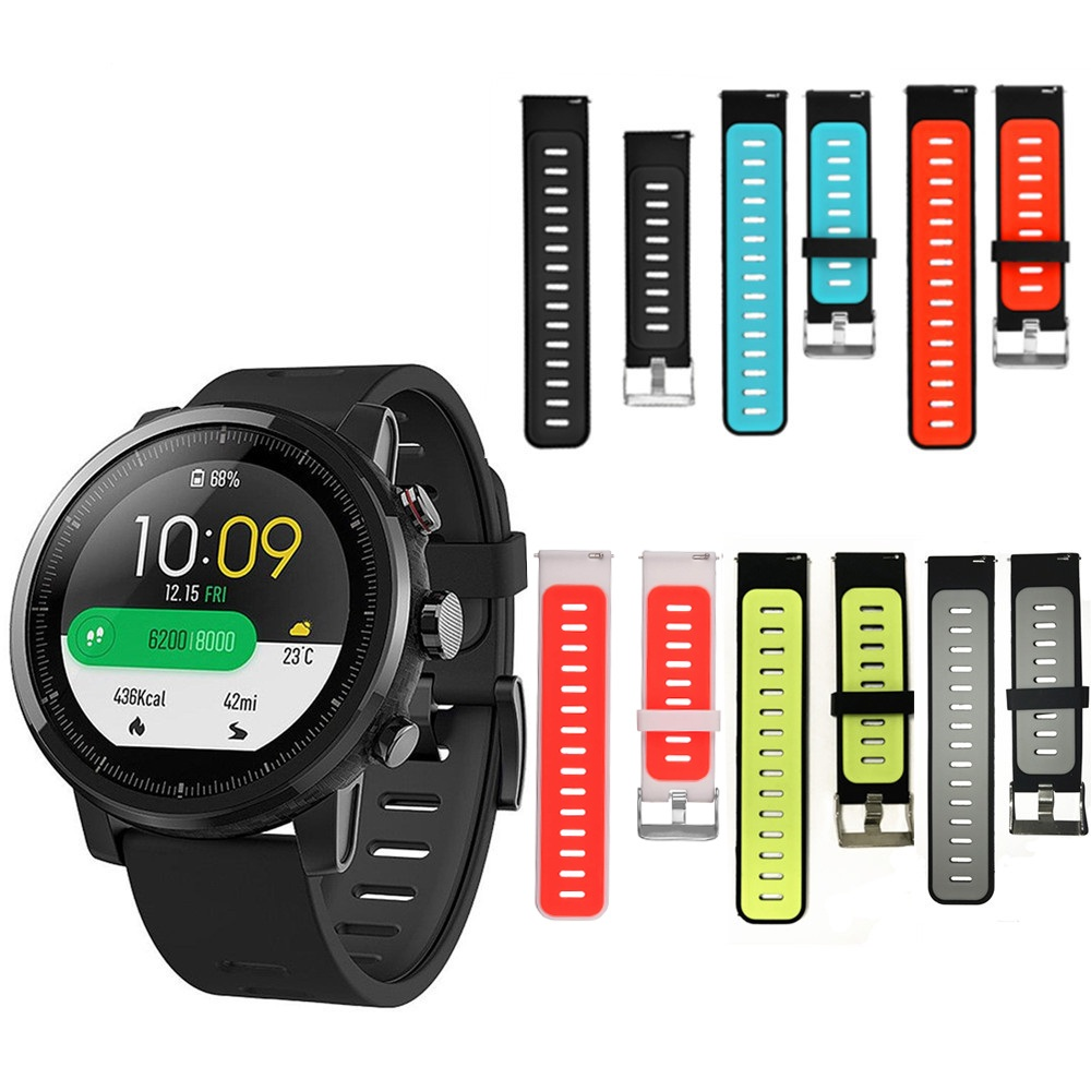 For Xiaomi Huami Amazfit Stratos 2 2S 3 Watch Strap For Amazfit Pace Strap Silicon Watchband 22mm Wristband TWO-COLOR Breathable