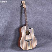 Diduo 41 Inch Acoustic Guitar Folk Basswood Six Strings Guitar Rosewood Closed Knob Beginner Musical Instruments Color Pattern