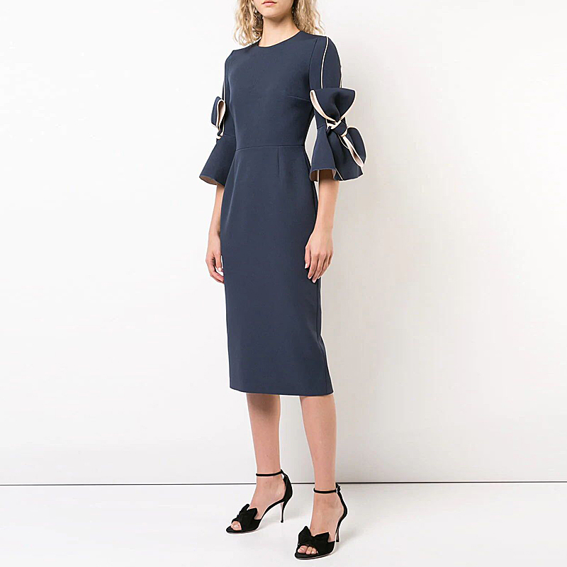 Long Dress Runway Designer High Quality 2018 Autumn New Women'S Fashion Party Workplace Sexy Vintage Elegant Chic Pencil Dresses