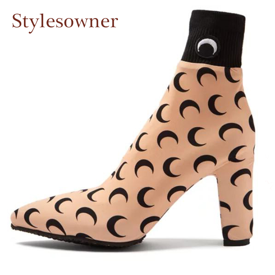 Stylesowner 2018 new runway style women short boots fashion moon print stretch sock boot sexy pointed toe thick heel ankle boots