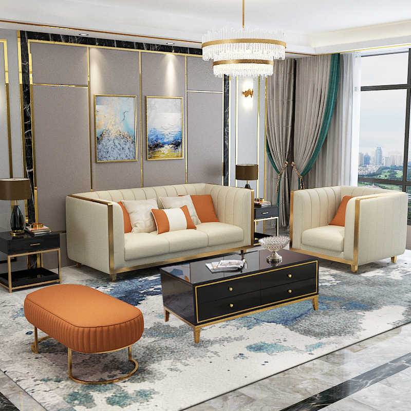 Post modern stainless steel light luxury sofa small ...