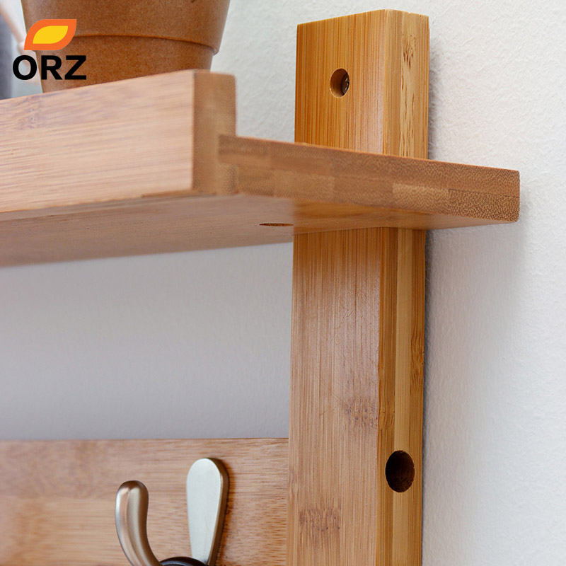 ORZ Bamboo Wall Shelf Coat Hook Rack With 4 Alloy Hooks Bedroom ...