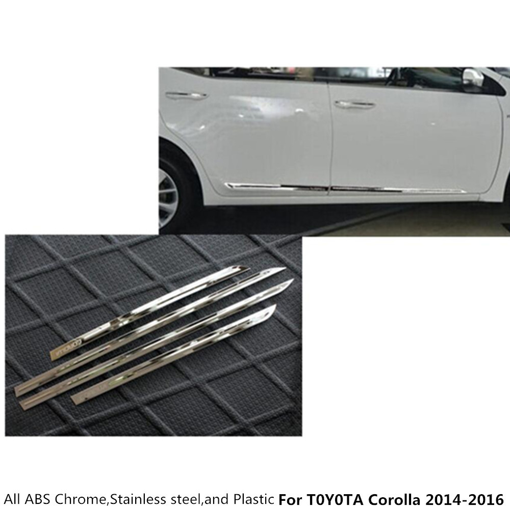 Top Car styling cover stainless steel Side Door Body trim stick Strip lamp Molding 4pcs For Toyota Corolla Altis 2014 2015 2016