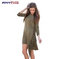 New Women Fashion Seven Point Sleeve Tassel Dresses Irregular Design Sports High Street Dresses Vestidos FA0054