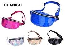 HUANILAI Womens  Waist Bags Fanny Pack Female Belt Bag Geometric Packs Laser Chest Phone Pouch
