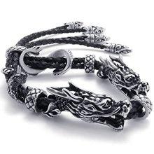 Men s Jewelry Bracelet Leather Stainless Steel Dragon Biker Black