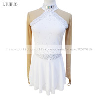 Figure Skating Dress Women's Girls' Ice Skating Dress White High elastic fabric Color drill decoration Long sleeved style