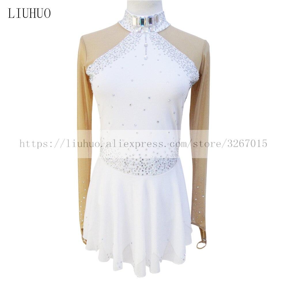 Pattinaggio di figura Vestito Pattinaggio Su Ghiaccio Dress delle Ragazze delle Donne Bianco di Alta tessuto elastico di Colore trapano decorazione a maniche lunghe stile