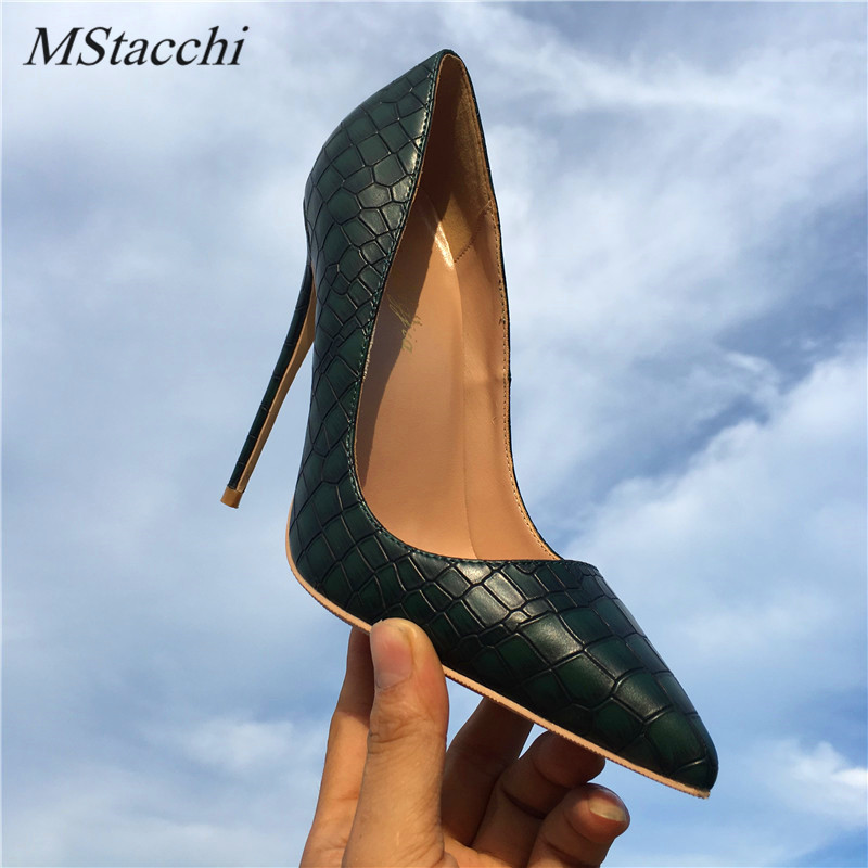 Mstacchi dark green lady high <font><b>heel</b></font> pumps <font><b>shoes</b></font> Pointed Toe party <font><b>shoes</b></font> <font><b>women</b></font> <font><b>12</b></font>/10/8cm thin <font><b>heel</b></font> shallow mouth slip on zapatos image
