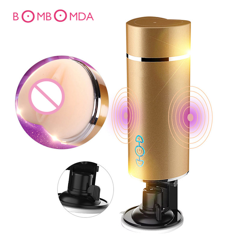 Telescopic Masturbation Suction Cup Vagina Anal Double Vibrating Cup Sex Toys For Men Pocket,Pussy Intelligent Voice Deep Throat