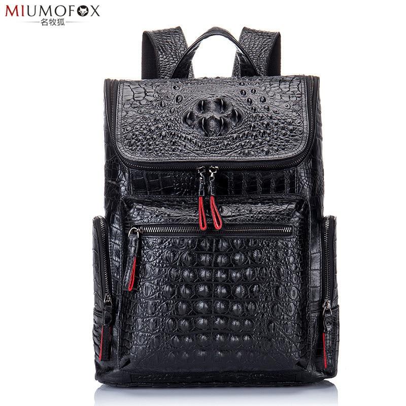 55b9f6b5fea9 Тиснение крокодил узор Для мужчин рюкзаки Корова кожа Сумка моды рюкзак Для  женщин Повседневное Бизнес рюкзак
