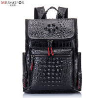 Embossing Crocodile Pattern Men Backpacks Cow Leather Travel Bag Fashion Backpack Women Casual Business Backpack for Laptop W46