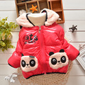 BibiCola  new baby Girls Parkas Cartoon Panda winter hooded cotton Jackets outerwear kids Warm Coat Kids Outerwear Cute Clothes