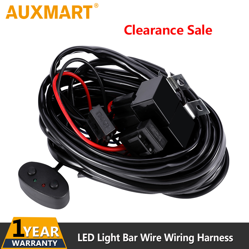Auxmart 2.4M Car LED Light Bar Wire Wiring Harness Relay Loom Cable Kit Fuse for Auto Driving Offroad Led Work Lamp DC 12v 24v ...