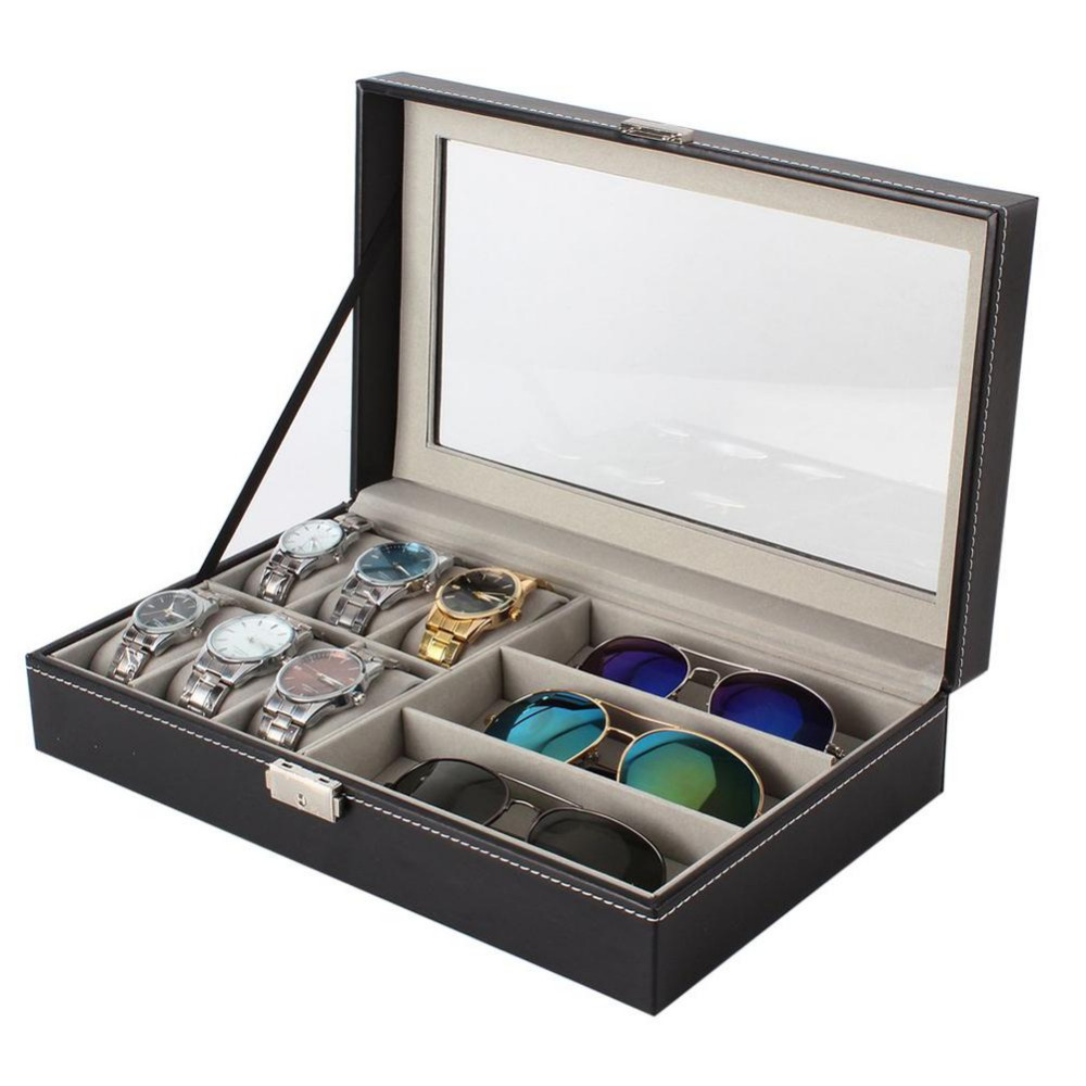 6+3 Grids Double /Single Layers PU Leather Watch Holder Watch Box Rings Bracelet Storage Jewelry Display Casket russia s old elm purple yu pure real wood double box box jade jewelry bracelet receive a cassette of the lock