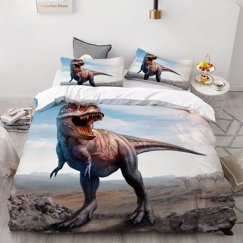 3PCS Cartoon Bedding Set For Kids Baby Children,3D HD Printing Duvet Cover Set,Tyrannosaurus Rex Dinosaurs Bedclothes